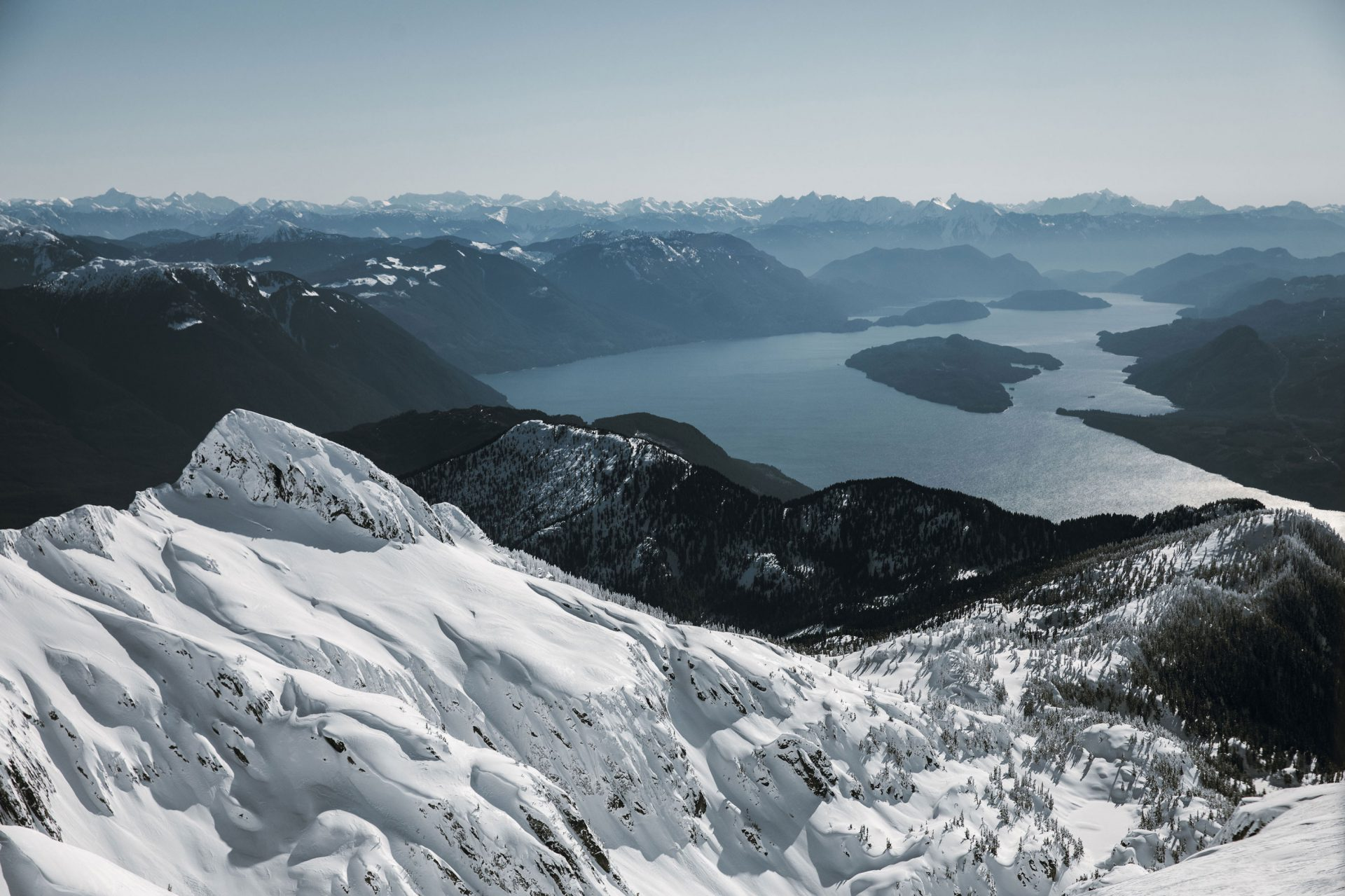 View of Harrison Lake from Lillooet Range in BC