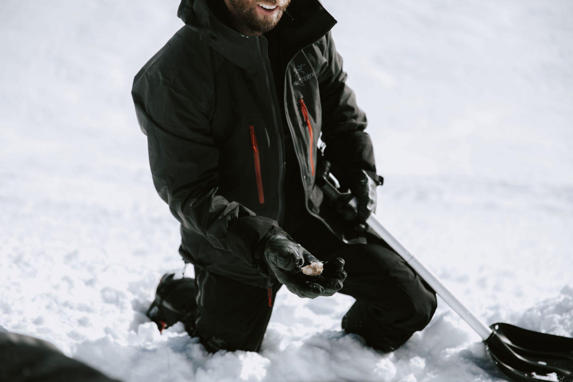 Man holding an ice crystal