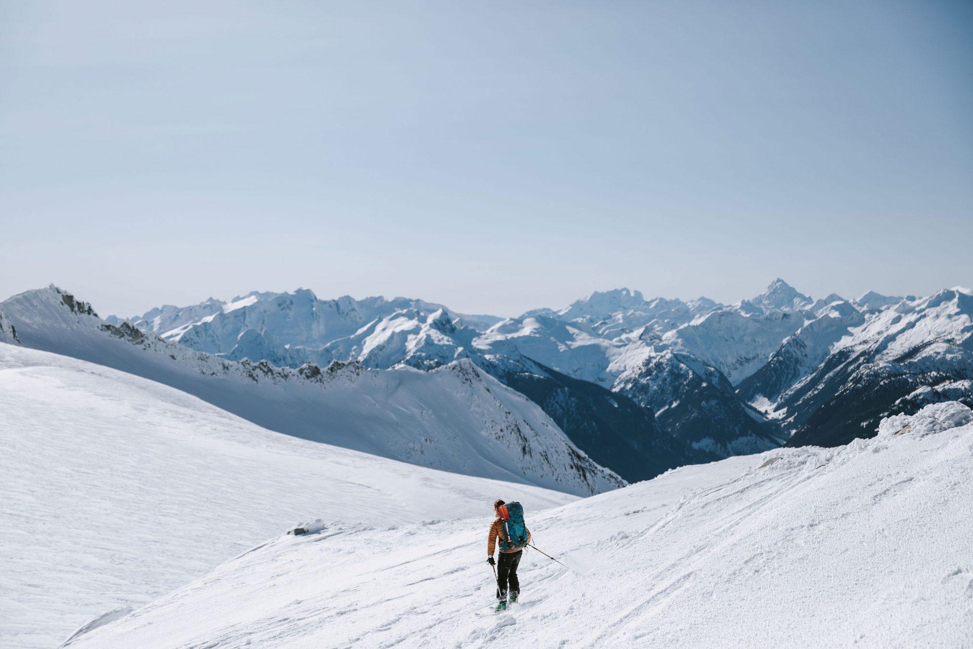 Man skiing on the mountain range