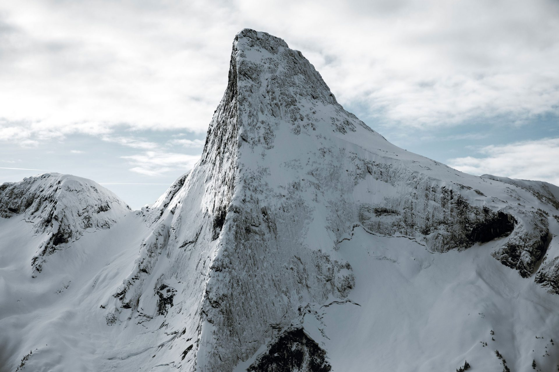 Snowy mountain peak viewed from the Librico Helicopter