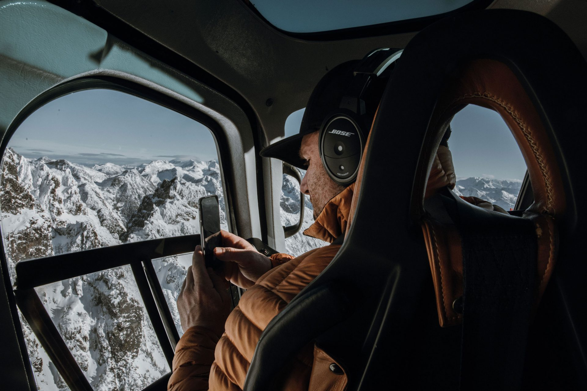 Amazing scenic view with Librico's Adam Palmer taking a picture while on a heli-tour near Vancouver, BC.