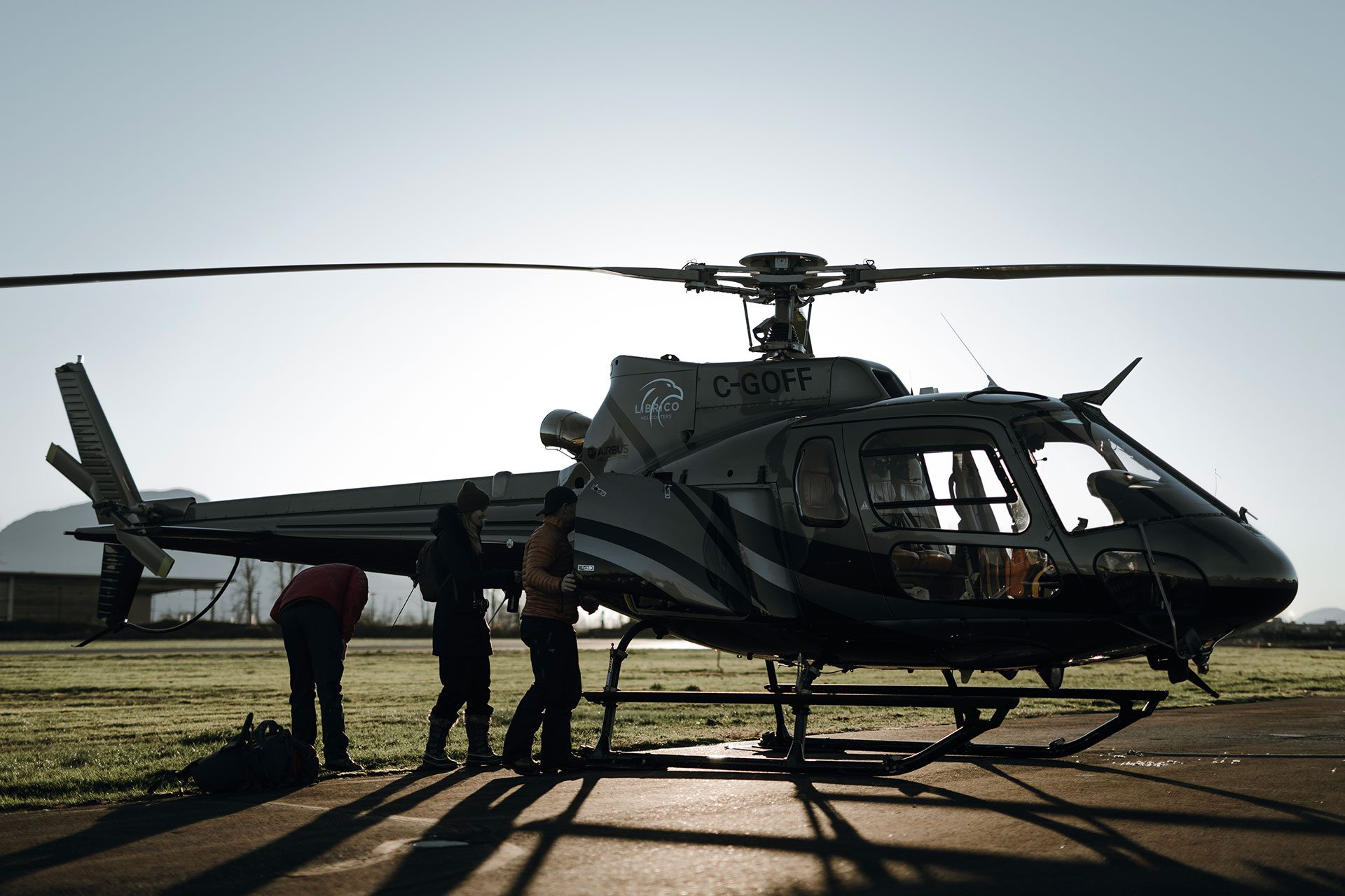 Librico's own Falcon Helicopter getting ready for a heli tour in Chilliwack, BC
