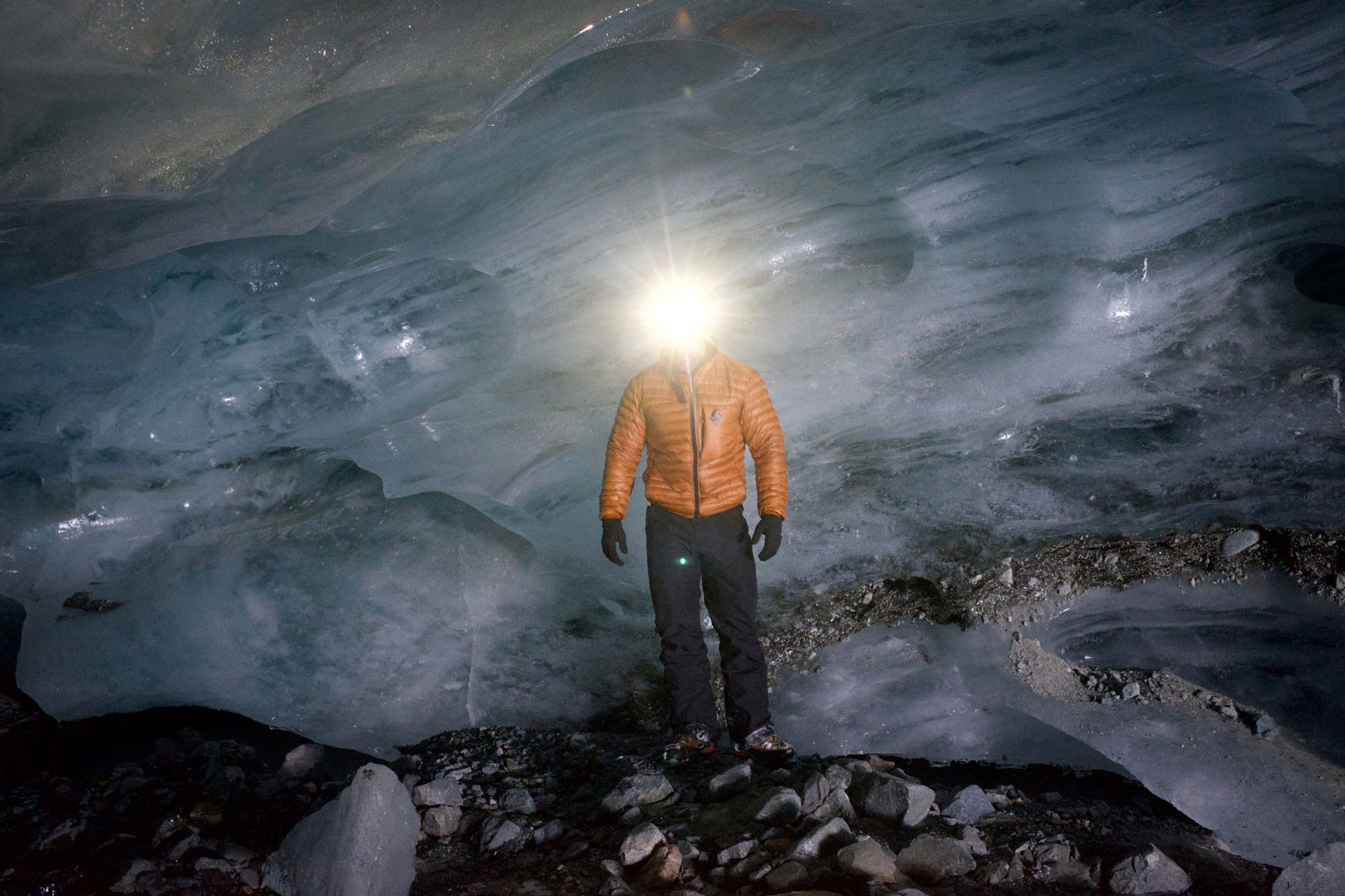 Headlamp in the ice caves