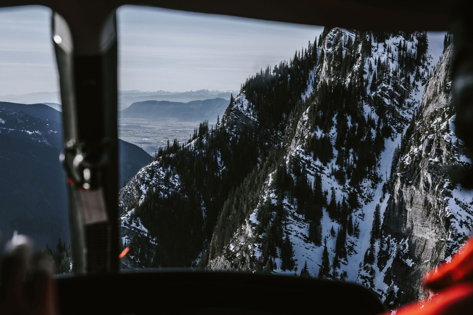 Mountain viewed through the windshield of the Falcon Helicopter