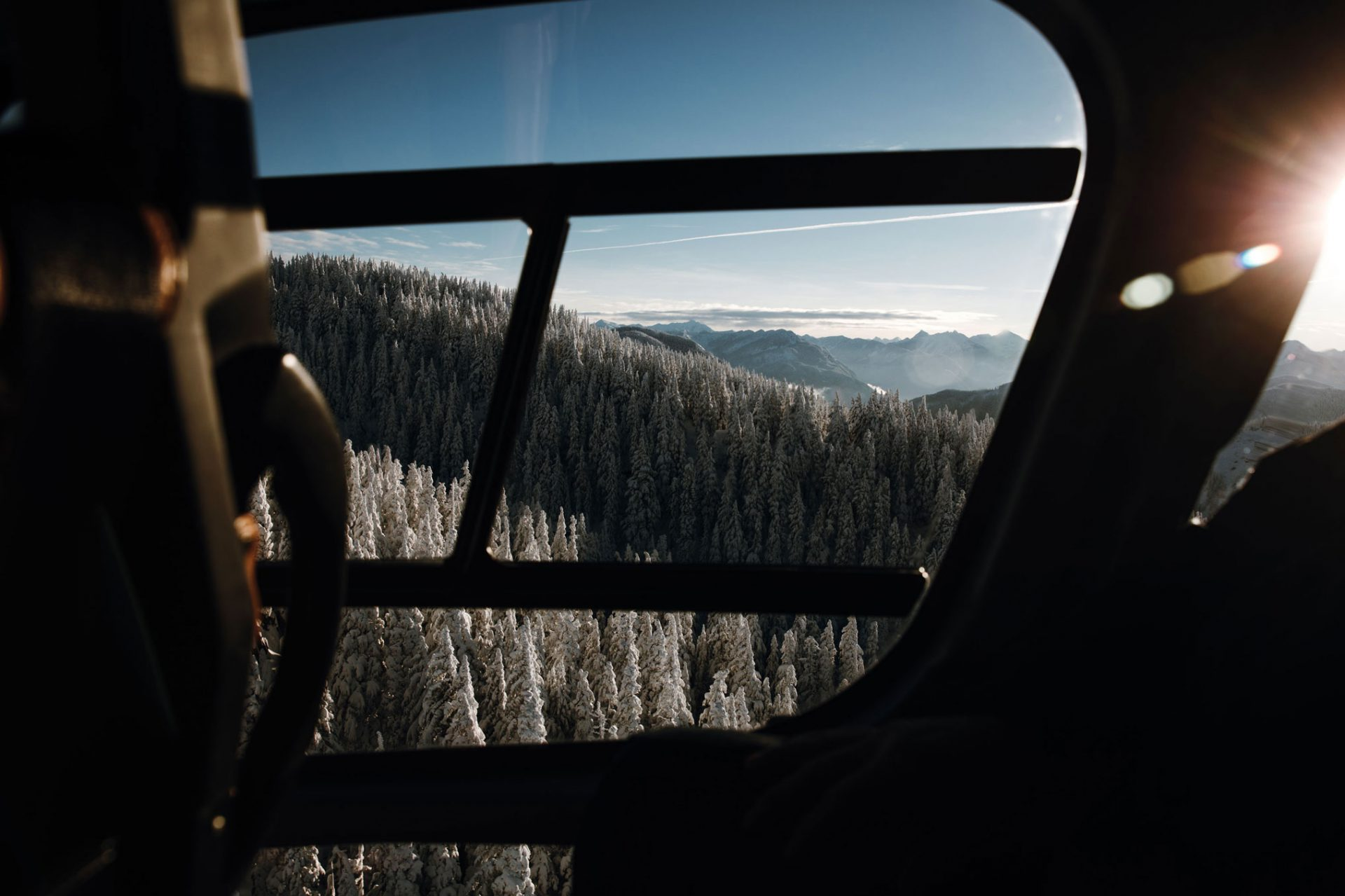 View of the treetops on a chartered heli tour with Librico Helicopters in BC